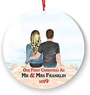 Mr and Mrs Christmas Ornament Personalized Portrait Picture Text - Our First Christmas as Mr & Mrs- 1st Married Christmas Ornament First Married Christmas - Newlywed Couple on Beach Sea Dock