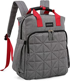 mommore Diaper Bag Backpack Travel Nappy Bag with Changing Pad, Wet Pocket and Stroller Straps for Baby Care, Grey