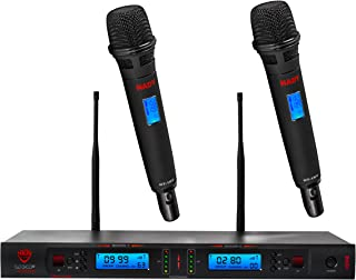 Nady 2W-1KU HT Dual True Diversity 1000-Channel Professional UHF Wireless System with 2 Handheld Microphones – Autoscan – Automatic Transmitter Pairing – All Metal Construction