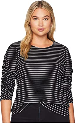 Plus Size Ruched Long Sleeve Thin Ribbed Stripe Top