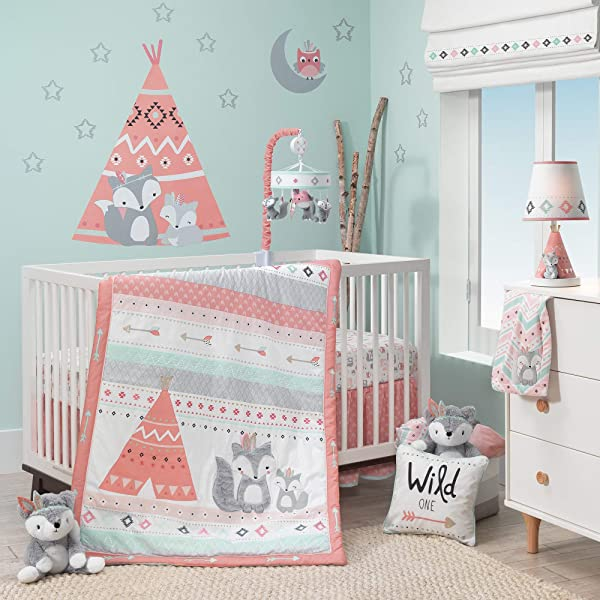 羔羊常春藤小精神 3 件婴儿床床上用品集蓝色灰色白色珊瑚