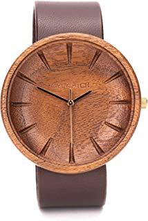 Reloj De Madera para Hombres, Ovi Watch Reloj de Movimiento de Cuarzo japonés con Pantalla analógica para Hombres con Corr...
