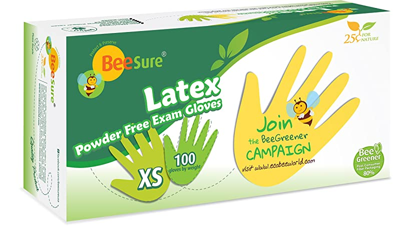 BeeSure BE2815case Powder Free Exam Gloves, Latex, Beaded-Cuff, XS, Yellow (Pack of 1000)
