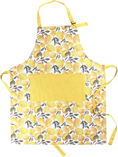 Sage and Stitch Adjustable Neck Cooking Apron 27'' x 33'' Machine Washable with 2 Pockets for Chef BBQ Baking - Lemons