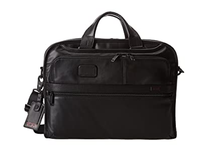 Tumi Alpha 2 Organizer Portfolio Leather Brief (Black) Briefcase Bags
