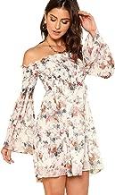 Romwe Women's Casual Floral Print Off Shoulder Trumpet Sleeve Swing Dress