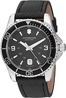 Victorinox Men's Stainless Steel Swiss Quartz Sport Watch with Leather Strap, Black, 21.4 (Model: 241862)