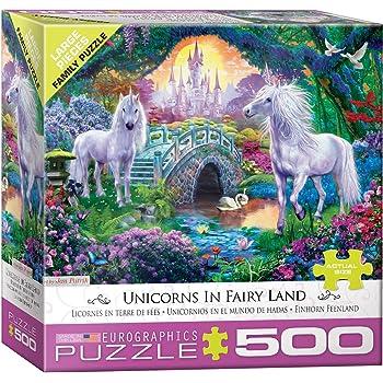 eeBoo Unicorn Garden Round Puzzle 500 pieces PZFUNG