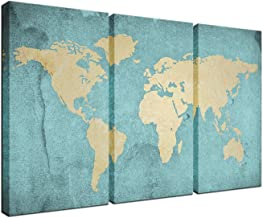 Large Size World Map Canvas Prints Vintage Style, Antique Blue Map of the World Wall Art Decor,Framed and Stretched,Decor for Home and Office (16''x32''x3pcs)