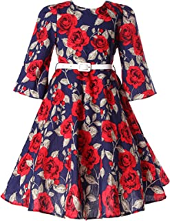 Bonny Billy Girls Classy Vintage Floral Swing Kids Party Dresses 5-6 Years Floral Red