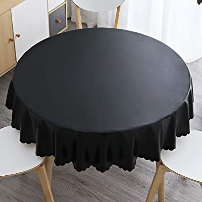 homing Heavy Duty Waterproof Vinyl Tablecloth – 60 Inch Diameter Washable Table Clothes for Round Tables, Thick Table Cover for Dinner, Holiday, Buffet, Outdoors, Black