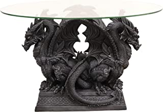 Ebros Gothic Large Crouching Twin Double Dragon Sentinels On Celtic Knotwork Pedestal Base Oval Side Coffee Table with Glass Top 20.25