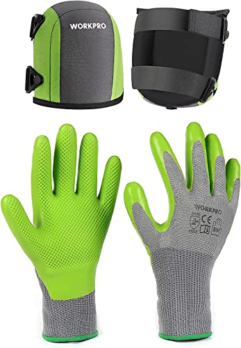 2021 WORKPRO 6 Pairs Garden Gloves and Garden Knee Pads, Flooring outlet online sale Kneepads with Foam Padding, Comfortable wholesale Kneeling Cushion for Gardening sale