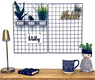 Wall Grid Photo Display Organizer for Hanging Art, Decorations or Dorm Decor; Metal Wire Panel Board Picture Holder; Set of 2 Black Iron Mesh Gridwall Rack Panels with Clips; Grids to Hang Pictures