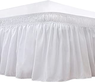 Biscaynebay Wrap Around Bed Skirt, Elastic Dust Ruffles, Easy Fit Wrinkle and Fade Resistant, Solid Color Fabric, King, Pu...