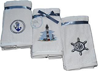 Decorative Luxury Fingertip Towel Set - 6 Piece Set - Embroidered Holiday Design on Turkish Quality Cotton, 600 GSM (Nautical - Lighthouse)