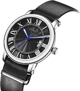 CARDQIOU Men Watches Luminous Waterproof Date Quartz Leather Strap Steel Wrist Watch for Men