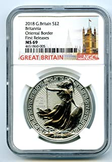 2018 GREAT BRITAIN 1 OZ SILVER BRITANNIA ORIENTAL BORDER FIRST RELEASES S2PD MS69 NGC