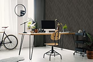 Transform Dark Grey Herringbone Wood Peel and Stick Wallpaper