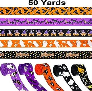 50 Yards Halloween Ribbons Grosgrain Halloween Decorative Ribbons Black Orange Purple Gift Wrapping Ribbons Hair Bows Ribbons for Halloween DIY Supplies, 10 mm