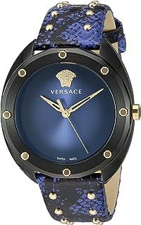 Versace Women's SHADOV Quartz Watch with Snakeskin Strap, Blue, 19 (Model: VEBM00418)