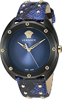 Versace Women's SHADOV Quartz Watch with Snakeskin Strap, Blue, 19 (Model: VEBM00418)