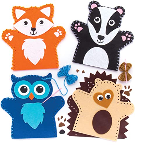 Baker Ross Kits de Couture marionnettes Animaux de la forêt (Lot de 4), Loisirs créatifs pour Enfants