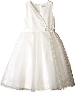 Us Angels - Satin & Point d' Espirit Sleeveless Pleated Bodice & Full Skirt (Little Kids)