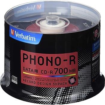 Verbatim バーベイタム 1回記録用 CD-R 700MB 50枚 レコードデザイン 48倍速 SR80PH50V1