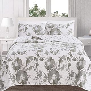 Great Bay Home 3-Piece Reversible Quilt Set with Shams. All-Season Bedspread with Floral Printed Pattern in Bright Colors. Helene Collection Brand. (Full/Queen, Grey)
