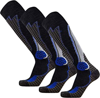 Pure Athlete High Performance Wool Ski Socks - Outdoor Wool Skiing Socks, Snowboard Socks (Black/Grey/Blue - 3 Pack, Large)