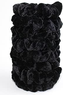 Syleia 8 Pcs Hair Scrunchies Velvet Elastic Hair Bands Scrunchy Hair Ties Ropes Scrunchie for Women or Girls Hair Accessories - 8 Black Color Scrunchies (8 PCS Velvet Hair Scrunchies)