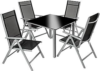 TecTake 800356 - Conjunto Muebles de Jardin 4+1, Sillas