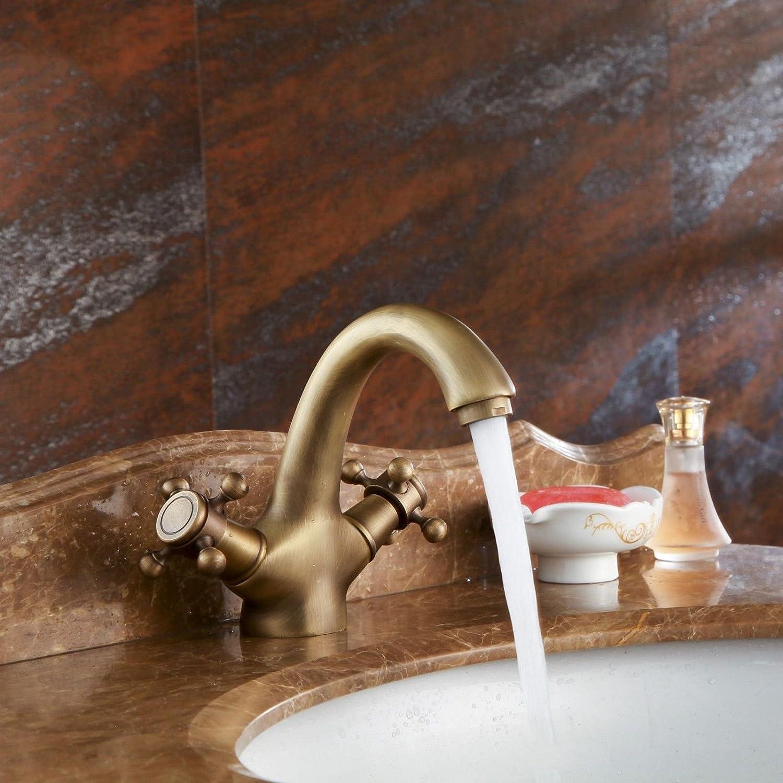 Good quality Antiquitten Becken Spül Mischer Tap Vintage Messing Doppelgriff EIN Loch Keramikventil heies und Kaltes Wasser Badezimmer Waschbecken Wasserhahn
