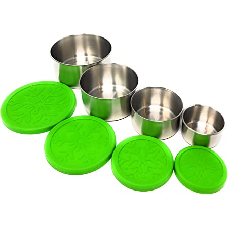Stainless Steel Food Storage Containers with Silicone Lids, Set of 4 (Green) for Lunch, Snack | No-Plastic, Non-Toxic and Leakproof by Little Honu