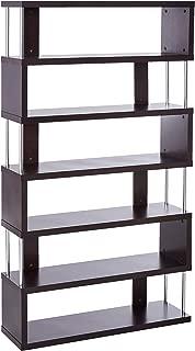 Baxton Studio Barnes 6-Shelf Modern Bookcase, Dark Brown