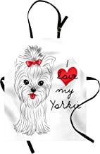 Ambesonne Yorkie Apron, I Love My Yorkie Terrier with Its Tounge Out Yorkshire Terrier, Unisex Kitchen Bib with Adjustable Neck for Cooking Gardening, Adult Size, Black White
