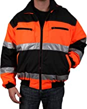 Safety Depot Reversible Jacket Class 2 ANSI Approved, Water Resistant, High Visibility Reflective Tape with Pockets (Medium)