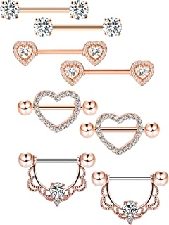 4 Pairs Stainless Steel Nipple Rings Tongue Ring Piercing Body Jewelry Barbell CZ Heart Shape Rings for Women Girls