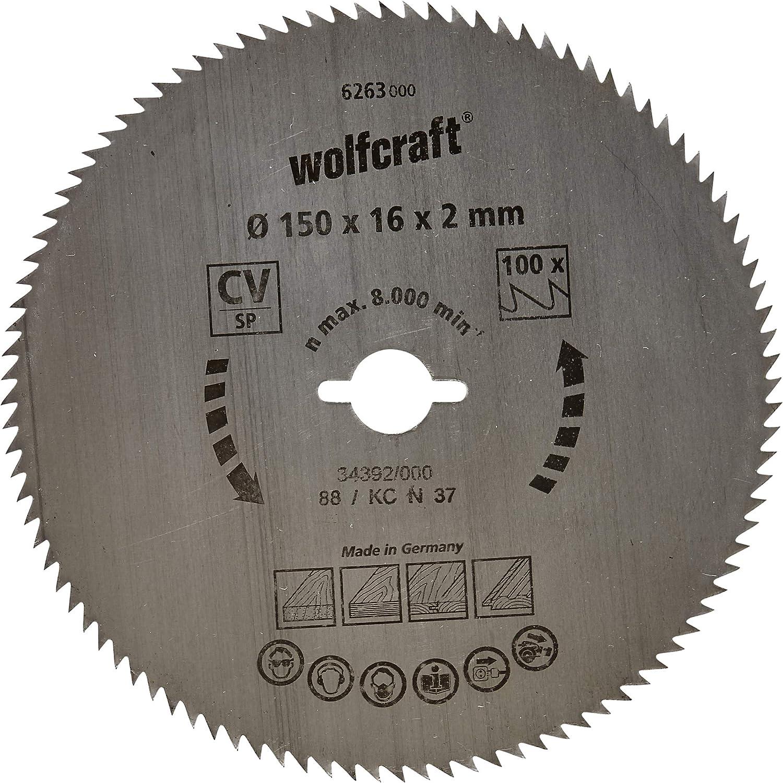 Wolfcraft 6263000 6263000-1 Hoja de Sierra Circular CV, 100 dient, Serie Azul diam. 150 x 16 x 2 mm, 150x16x2mm