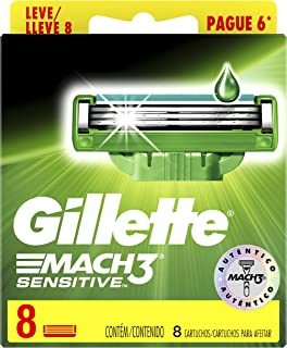 Carga Para Aparelho de Barbear Gillette Mach3 Sensitive Leve 8 Pague 6, Gillette