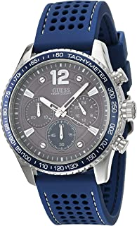 GUESS Mens Quartz Watch, Analog Display and Silicone Strap - W0971G2