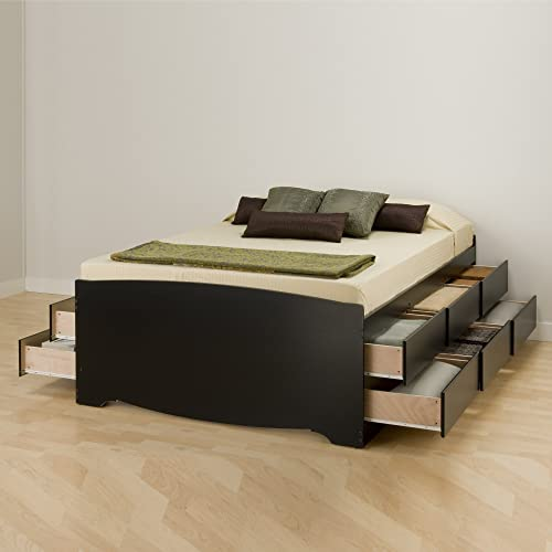 fb2f564bd4a8 Prepac BBQ-6212-K Tall Queen Sonoma Platform Storage Bed with 12 Drawers
