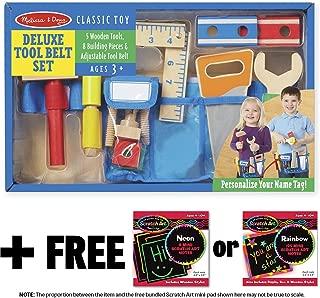 Melissa & Doug Deluxe Tool Belt Wooden Play Set & 1 Scratch Art Mini-Pad Bundle (05174)