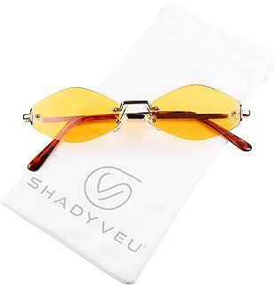 ShadyVEU Slim Narrow Diamond Hexagon Shape Sunglasses Rimless Metal Frame Candy Colored Tint Lens Skinny Fashion Shades (Gold Frame, Orange Lens)