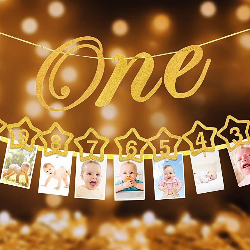 1st Birthday Milestone- Monthly Milestone Photo banner for Newborn to 12 months.1st Birthday Decorations, Great for 1 Year old Celebration, 1-12 month Star Numbering Photography Banner