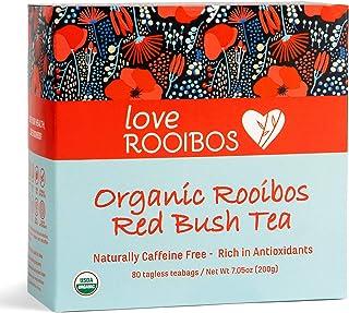 Rooibos Tea Organic 80 Tagless Teabags - Rhino Conservation - Caffeine Free Teas, Antioxidant-Rich for Natural Wellness, D...