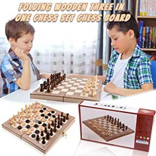 Sponsored Ad - Aviat Board Folding Chess Set with Plastic Chess Pieces Board Games Wooden Three-in-one Chess Set Chess Boa...