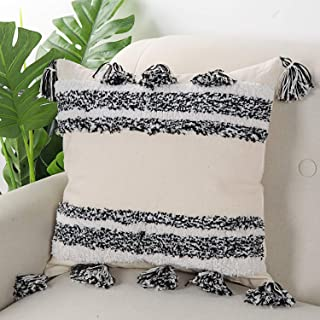 Ailsan Mordern Throw Pillow Cushion Cover Black and White Tassel Fringe Tufted Pillow Couch Cushion Case,Accent Tribal Pillows Cover for Home Party Car Office