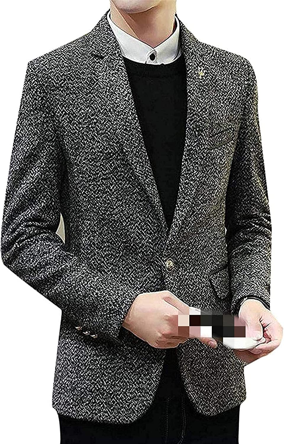 Mens Tweed Sport Coat Notched Raleigh Long Beach Mall Mall One Blazer Button Fit Jacket Slim